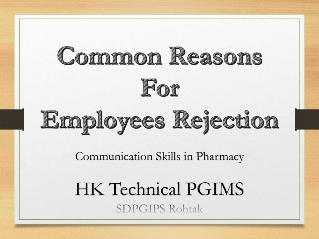 Common Reasons For Employee Rejection