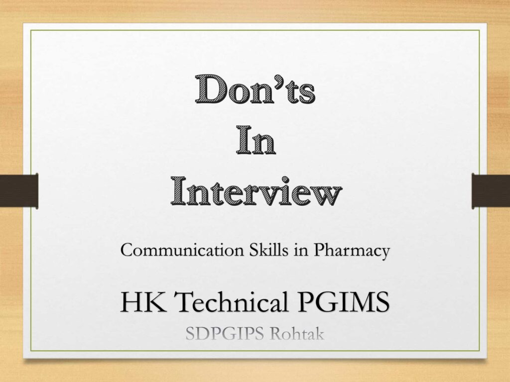 Donts in interview