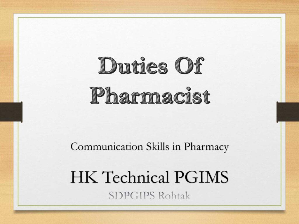 Duties of Pharmacist
