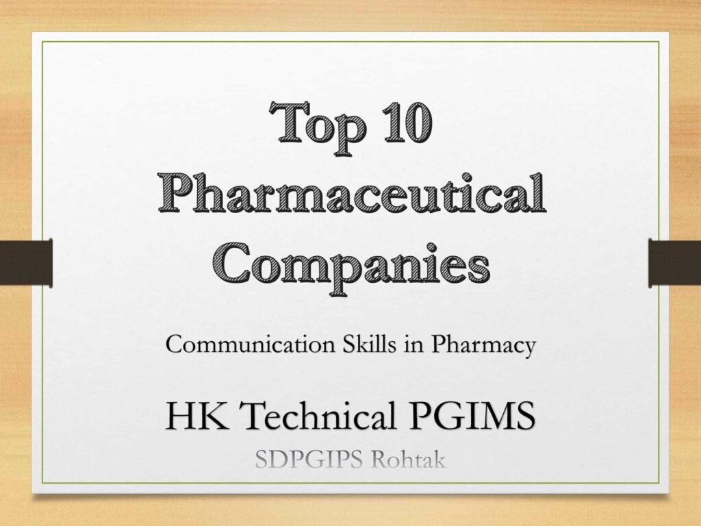 Top 10 Pharmaceutical Companies